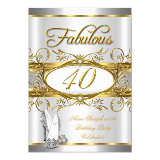 Fabulous 40th Birthday Gold Silver High Heels 40 Card