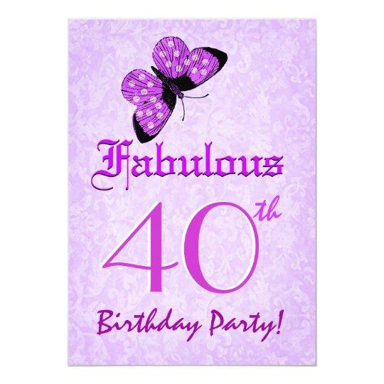 Fabulous 40th Birthday Lavender Butterflies W1803 Card