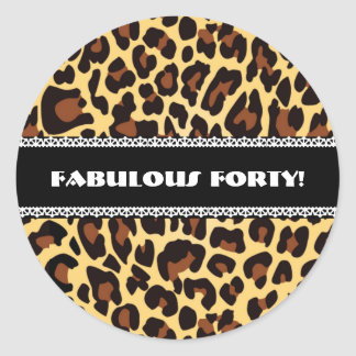 Fabulous 40th Birthday Leopard and Lace A11 Classic Round Sticker