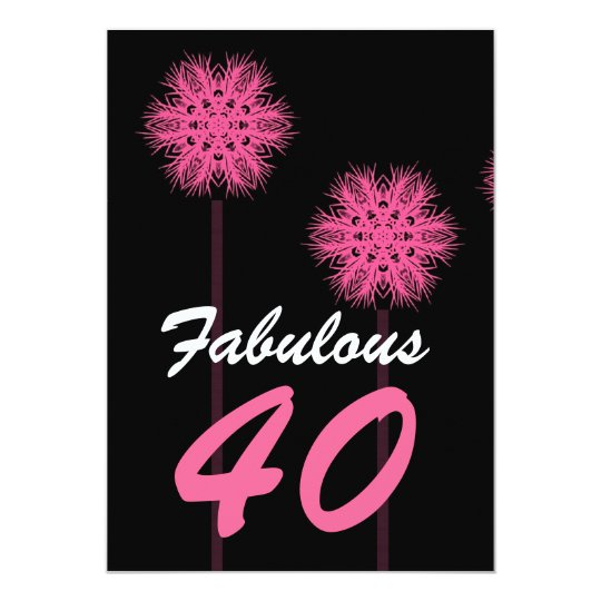 Fabulous 40th Birthday Party Pink Flowers W1487A Card