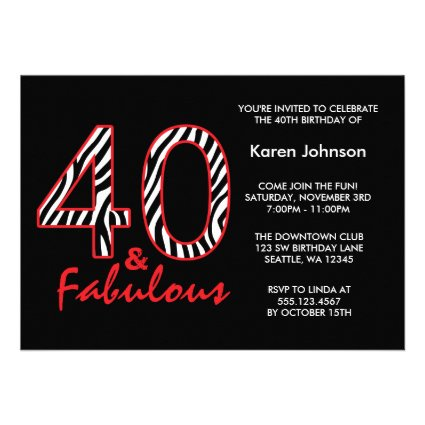 Fabulous 40th Black and Red Zebra Birthday Invitation