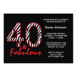 Fabulous 40th Black and Red Zebra Birthday 5x7 Paper Invitation Card