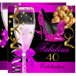 Fabulous 40th Hot Pink Black Champagne Party Card