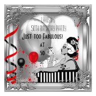 Fabulous 50 50th Birthday Art Deco Silver Black Invite