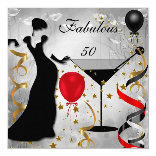 Fab 50 Girls: Fabulous 50 50th Birthday Party Deco Lady Red 2 Card