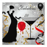Fabulous 50 50th Birthday Party Deco Lady Red 2 Personalized Invitation
