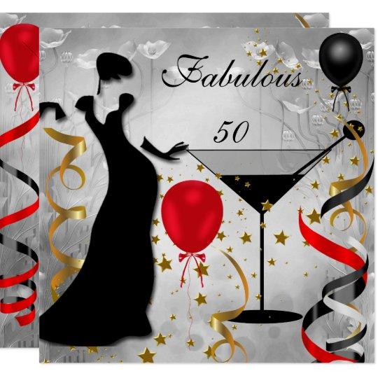 Fab 50 Birthday: Fabulous 50 50th Birthday Party Deco Lady Red Invitation