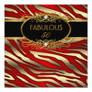 Fabulous 50 50th Birthday Party Gold Zebra RED Card