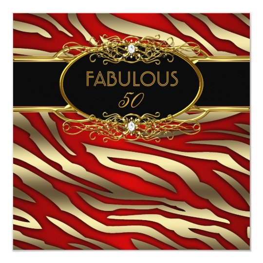 50 And Fabulous Text: Fabulous 50 50th Birthday Party Gold Zebra RED Card