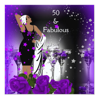 Fabulous 50 50th Birthday Purple Roses Martini Card