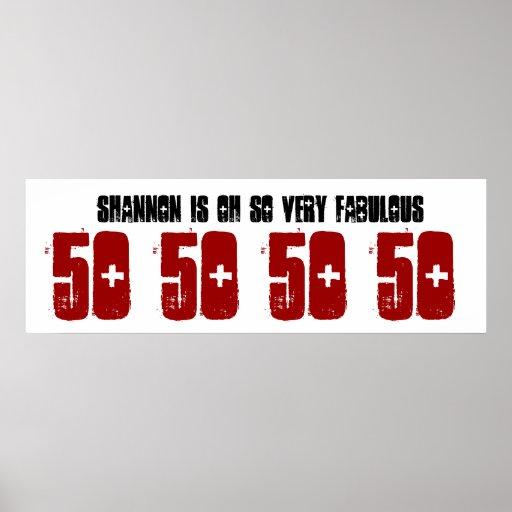 Fabulous 50 Birthday Party Banner Custom Name Print