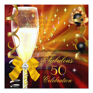 Fabulous 50 Birthday Party Champagne Gold Black Card