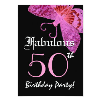 Fabulous 50 Birthday Party Pink Butterfly Card