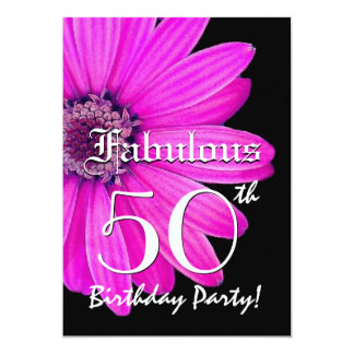 Fabulous 50 Birthday Party Pink Daisy Template Card