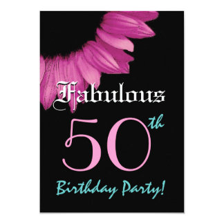Fabulous 50 Birthday Party Pink Sunflower Card