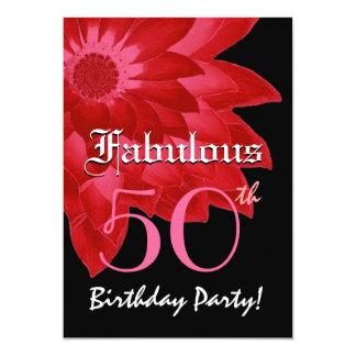 Fabulous 50 Birthday Party Red Fantasy Daisy Card