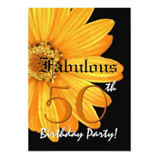 Fabulous 50 Birthday Party Yellow Daisy Template Card