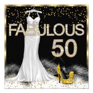 Fabulous 50 Black Gold White Birthday Party 5.25x5.25 Square Paper Invitation Card