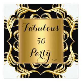 Fabulous 50 Black White Gold Birthday Party 5.25x5.25 Square Paper Invitation Card