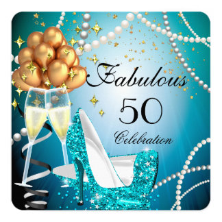 Fabulous 50 Blue High Heels Gold Champagne Party Card
