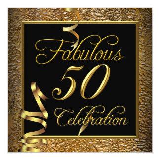 Fabulous 50 Celebration Gold Black Birthday Party 13 Cm X 13 Cm Square Invitation Card
