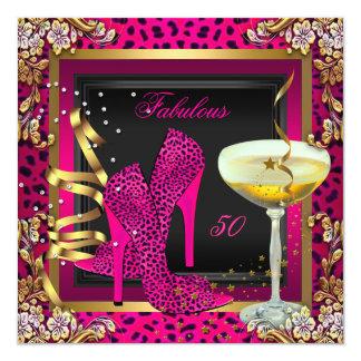 Fabulous 50 Cherry Pink Leopard Birthday Card
