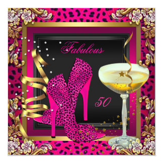 Fabulous 50 Cherry Pink Leopard Birthday Custom Announcements