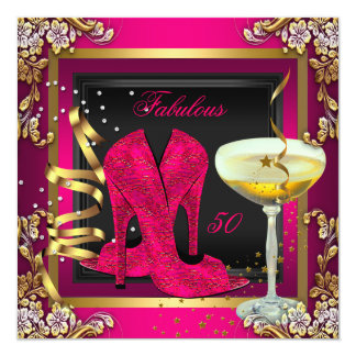 Fabulous 50 Cherry Pink Red Gold Birthday Card