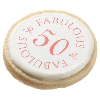 Fabulous 50 Chic Coral Typography 50th Birthday Round Shortbread Cookie
