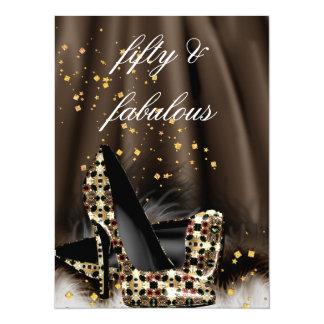 Fabulous 50 Chocolate Brown Gold Heels Birthday Card