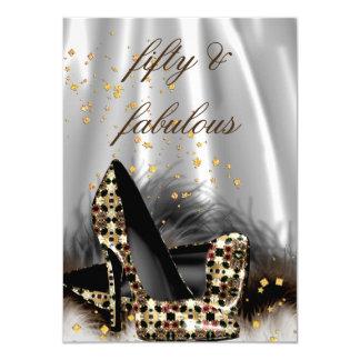 Fabulous 50 Chocolate Gold Silver Heels Birthday Card