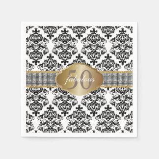 Fabulous 50 Classic Damask Silver Glitter Belt Paper Napkin