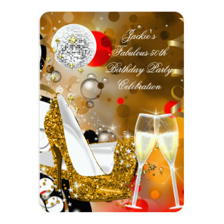 Fabulous 50 Colorful Gold Glitter Heels Birthday 2 Card