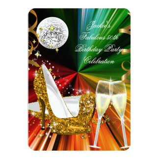Fabulous 50 Colorful Gold Glitter Heels Birthday Card