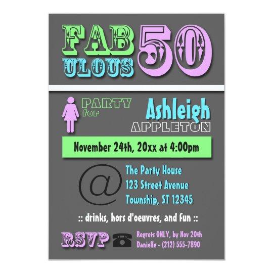 Fabulous 50 cool modern birthday invitations zazzle fabulous 50 cool modern birthday invitations filmwisefo