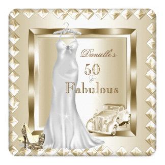Fabulous 50 Cream Gold Deco Vintage Car Dress Heel Card