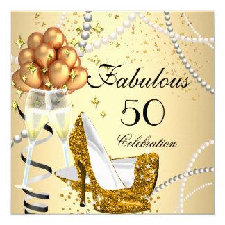 Fabulous 50 Cream Gold Heels Champagne Birthday Card