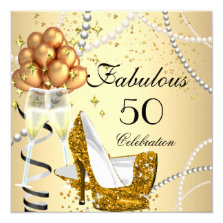 Fabulous 50 Cream Gold Heels Champagne Birthday 5.25x5.25 Square Paper Invitation Card