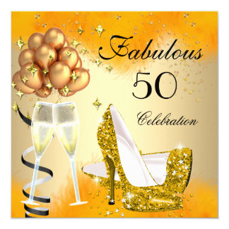 Fabulous 50 Cream Gold Yellow High Heels Birthday 5.25x5.25 Square Paper Invitation Card