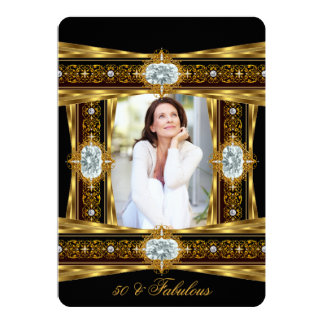 Fabulous 50 Elegant Diamond Gem Gold Black Photo 8 Card