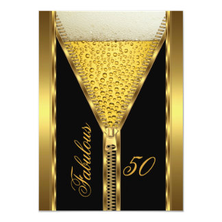 Fabulous 50 Elegant Zipper Gold Beer Drink 2 4.5x6.25 Paper Invitation Card