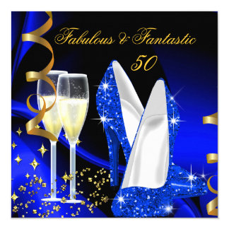 Fabulous 50 Fantastic Abstract Blue Gold Party 5.25x5.25 Square Paper Invitation Card