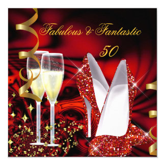 Fabulous 50 Fantastic Abstract Red Gold Birthday 5.25x5.25 Square Paper Invitation Card