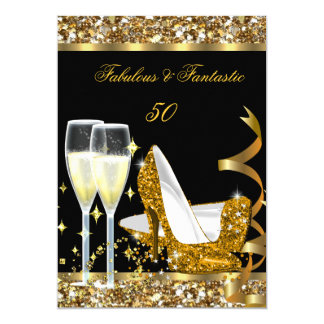 Fabulous 50 Fantastic Birthday Party Gold Black 5x7 Paper Invitation Card