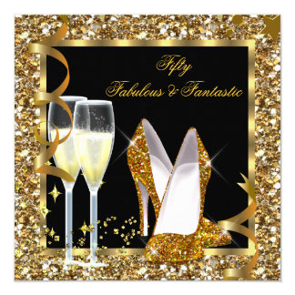 Fabulous 50 & Fantastic Black Gold Birthday Party 5.25x5.25 Square Paper Invitation Card