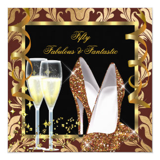 Fabulous 50 & Fantastic Brown Gold Damask Party Card