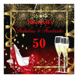 Fabulous 50 Fantastic Festive Red Gold Party 5.25x5.25 Square Paper Invitation Card