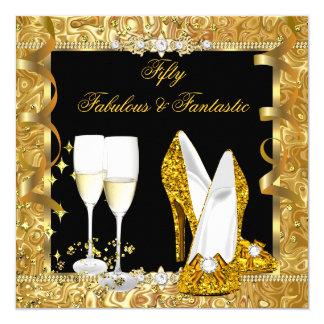 Fabulous 50 Fantastic Gold Black Birthday Party 2 Card