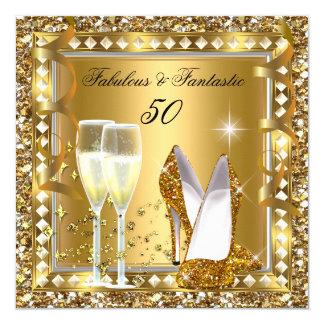 Fabulous 50 & Fantastic Gold Glam Silver Birthday Card