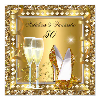 "Fabulous 50 & Fantastic Gold Glam Silver Birthday 5.25"" Square Invitation Card"